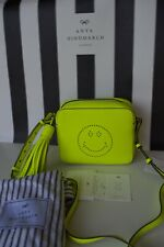 Anya Hindmarch Leather SMILEY Neon Yellow Crossbody Bag, New with Tags