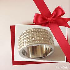 Anello veretta larga in acciaio con 4 fili di strass 18 mm diametro idea regalo
