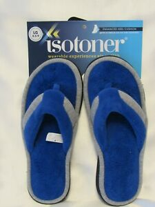 ISOTONER Women's Royal Blue Gray Microterry Jersey Knit Tong Slippers 8.5-9 New