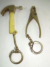 Vintage Miniature Hammer & Adjustable Wrench Novelty Hardware Tool Keychains