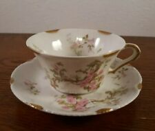 Antique Theodore Haviland Limoges Tea Cup and Saucer, Pink Roses Gold Trim