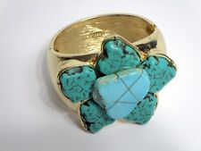 Chico's Statement Faux Turquoise Hinged Bracelet Floral Shape Gold Tone