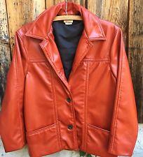 Vntage TODD OLDHAM JEANS Faux Leather Blazer Jacket ORANGE size MEDIUM