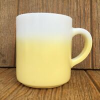 Vintage Hazel Atlas Milk Glass Yellow Two-Tone Fade Ombre Mug / Coffee Cup