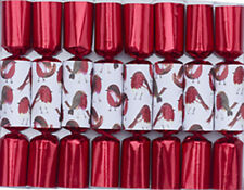 Robin Reed H8 Christmas Mini Tree Themed Crackers 8pc 6in - Red Glitter Robin