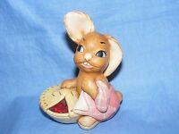Pendelfin Stoneware Rabbit Pieface Pink Burnley England