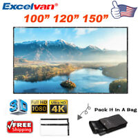 "100"" 120"" 150"" 16:9 HD 3D 4K PVC Projector Projection Screen Home Cinema Theater"