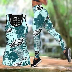Philadelphia Eagles Women's Tank Top Leggings 2PCS High Waist Stretch Yoga Pants