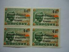 Uruguay 1966 SG1281 4c on 5c+10c Block x 4 50th Anniv. of Uruguay Architects Ass