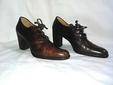Enzo Angiolini Women's Brown Leather High Heeled Oxfords Shoes Size 6M