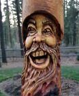 Wood Spirit Carving Forest Hobbit Tree Wizard Log Home Gnome Cabin Face Folk Art
