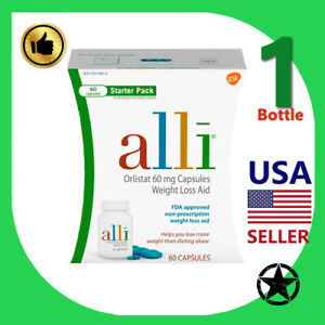 1 Pack Alli Starter Pack includes Orlistat 60 mg Capsules. Weight Loss Aid.