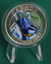 2007 CANADA 25 cent Coloured Coin - Red Breasted Nuthatch - complete