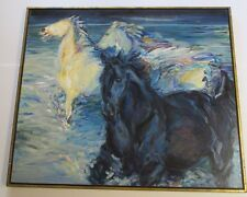 SIGNED LARGE PAINTING VINTAGE ABSTRACT EXPRESSIONISM WILD HORSES IMPRESSIONISM