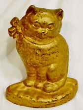 ANTIQUE/VINTAGE HUBLEY IRON CAT DOORSTOP, RARE COLORATION
