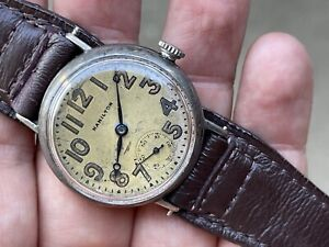 HAMILTON 1918 WWI ORIGINAL DIAL MILITARY 925 STERLING SILVER WWI 983 TRENCH RUNS