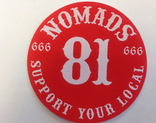 SUPPORT 81 NOMADS BIKERS badge 666 RED&WHITE WORLD 99%HELLS VEST HAT PATCH
