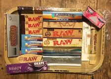 RAW Small Metal Tray Set + Raw Kingsize Rolling Papers Tips + Rizla + Juicy Jay