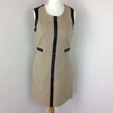 Next Tailor Fitted Beige with Gold Thread Lined Office Business Dress UK 12 NWT