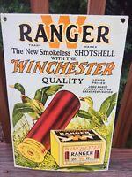 "Vintage Winchester  Ranger Shot Gun Shells Ammunition Porcelain Sign 16""x11"""