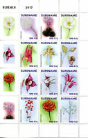 Suriname 2017 MNH Flowers 12v Block Bloemen Plants Nature Stamps