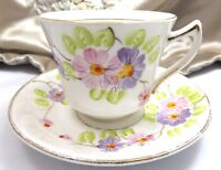 Phoenix Vintage Tea Cup Saucer Lavender Pink Floral Porcelain Gold Trim England