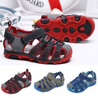 Children Kids Girls Boys Summer Beach Closed Toe Antiskid PU Sandals Kids Shoes