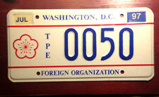 97 WASHINGTON D.C. DISTRICT OF COLUMBIA FOREIGN ORGANIZATION LICENSE PLATE RARE