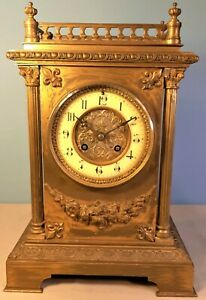 Antique French Brass  Striking Mantel Clock by J. Marti