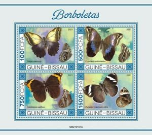 Guinea-Bissau - 2021 Green-eyed Owl-Butterfly - 4 Stamp Sheet - GB210107a