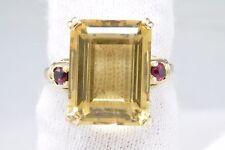 Women's Luxury 11.5 ct Citrine & Ruby Natural Gemstone 3 Stone Ring 14k Gold