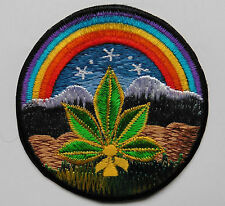 * Round Sew On Patch * Nepalese Made * 8cm * Rainbow Mountain