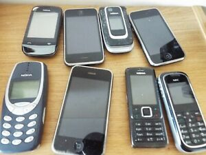 Job Mixed Lot of 8 Old Mobile Phones Telephones NOKIA iPhones NEC No leads