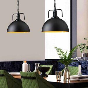 2PK Vintage Pendant Light Dome Metal Shade Barn Warehouse Hanging cord Lamp 30cm