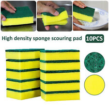10x Dish Cleaning Soft Sponge Washing Catering Kitchen Scourer Pad Green Yellow