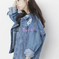 Ripped Hole Womens Denim Loose Leisure Jacket Jean Fashion Coat BF Style HOT