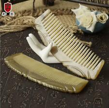 Natural OX Horn Comb handle Wide/Fine Toothed Comb Massage Brush Antistatic