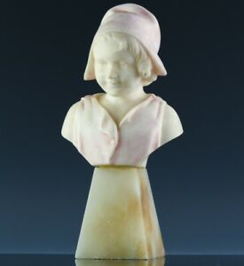 WONDERFULc1920 ANTIQUE ART DECO HAND CARVED ITALIAN ALABASTER BUST OF YOUNG GIRL