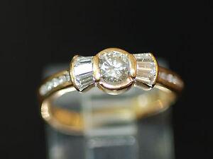 OAK Vintage 1970's 0.55ct Diamond Bowtie Style Engagement Ring 18k/750