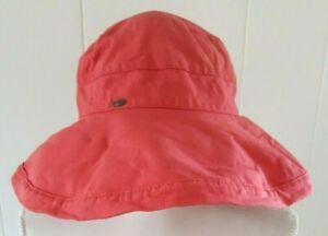 Scala Floppy Hat Canvas Red Orange Adjustable Wide Brim Sun Garden Beach