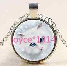 Vintage white cat Cabochon Tibetan silver Glass Chain Pendant Necklace #2184