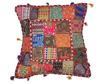 """Decorative Sari Floor Pillow Cover Handmade Ethnic Patchwork Euro Sham Case 26"""""""