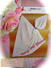 """Vintage Knitting Pattern Baby Shawl """"Darling"""". Size 36x36ins.  FREE UK P&P"""