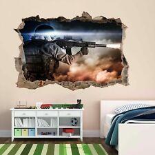 Francotirador Soldado Ejército Militar Guerra 3D Pared Adhesivo Mural Calcomanía Cuarto de Niños Chicos CP67