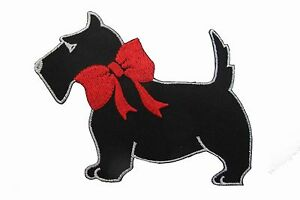 """#1009 5"""" Black w/Red Bowknot Scottie Dog Embroidery Iron On Applique Patch"""