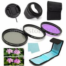 7Pcs 52mm UV CPL Polarizing FLD Lens Filter Kit Hood For Canon Nikon Camera