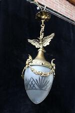 Antique French Crystal glass bronze eagle ram head lantern pendant chandelier