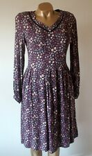 Dress Laura Ashley Size 8 Black Pink Ditzy Floral Long Sleeve Lined Flawless