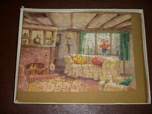 VINTAGE COTTAGE WOODEN JIGSAW by VICTORY - FRANK SHERWIN PAINTING