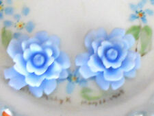 #829 Vintage Cabochon Blue Flower Flowers Roses Shabby Flowers Celluloid NOS AB